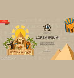 flat welcome to egypt template vector image