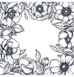 Floral frame with bouquets of hand drawn vector