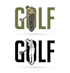 font golf with golf player action cartoon sport vector image
