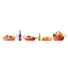 food in picnic baskets bread alcohol drinks set vector image