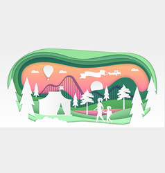 Funfair - paper cut vector