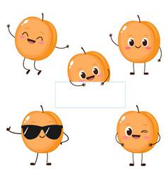 Funny cartoon apricot character emoji vector