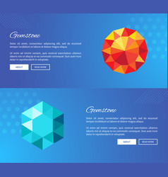 Gemstone crystals and minerals web design vector