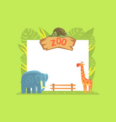 giraffe turtle and elephant wild jungle animals vector image