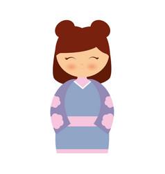 Girl japanese doll traditional dress vector