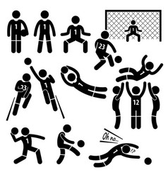 Goalkeeper actions football soccer stick figure vector