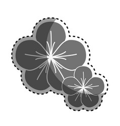 Gray nice flowers with petals decoration vector