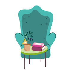 green chair and potted plant books on table vector image