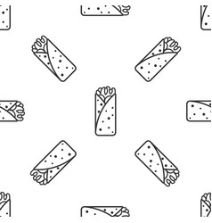 Grey burrito icon isolated seamless pattern on vector