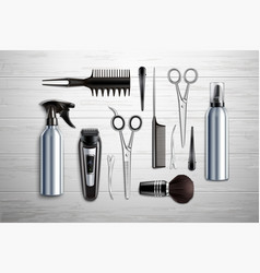 hairdressing tools realistic vector image