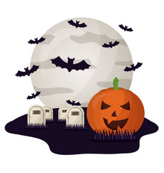 halloween tombs with moon and set icons vector image