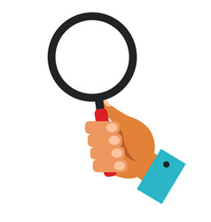 hand holding magnifying glass cartoon flat vector image