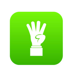 hand showing number four icon digital green vector image