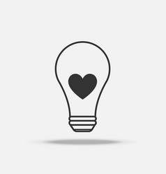heart light bulb flat icon with shadow vector image
