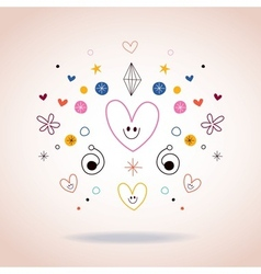 Hearts and stars abstract art vector