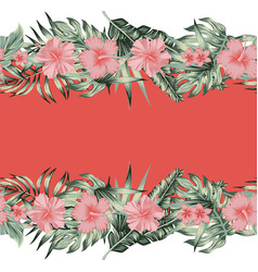 hibiscus plumeria monstera palm leaves border vector image