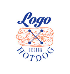hotdog logo design retro emblem for shop cafe vector image