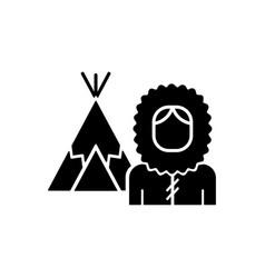 Inuit population black glyph icon vector