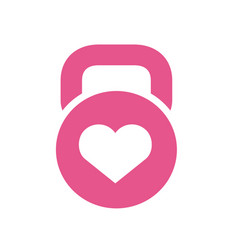 kettlebell and heart symbol vector image