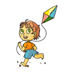 kid flying kite isolated cute child boy running vector image