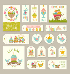 labels tags with easter theme vector image