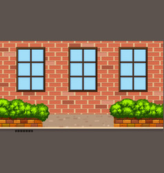 Landscape background with brick building and bush vector