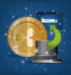 Laptop with virtual coin ripple vector