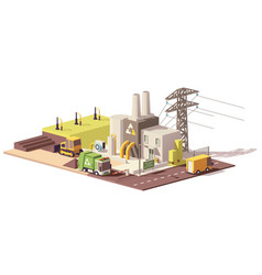 Low poly landfill gas collection plant vector