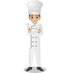male chef holding knife vector image