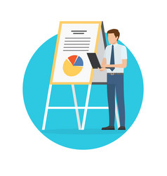 man giving presentation poster vector image