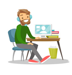 Man using headset and computer in call center vector