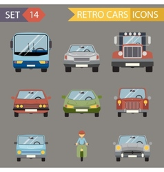 Modern Flat Design Symbols Stylish Retro Car Icons vector