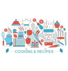 Modern Flat thin Line design kitchen Cooking and vector image
