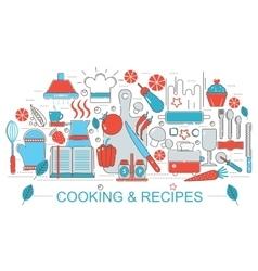 modern flat thin line design kitchen cooking vector image