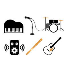 music instrument icon design set bundle template vector image