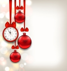 New Year Shimmering Background with Clock and vector image