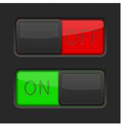 on and off black toggle switch buttons red and vector image