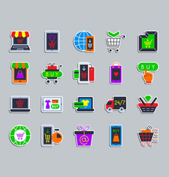 online shop patch sticker icons set vector image