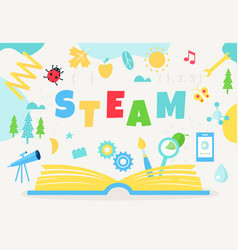Open book and steam sign science technology vector