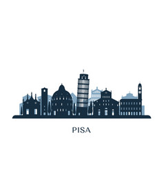 pisa skyline monochrome silhouette vector image