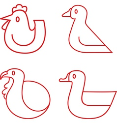 Poultry icons vector image