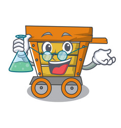 Professor wooden trolley character cartoon vector