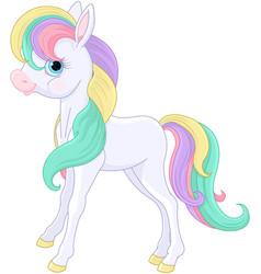 Rainbow pony sitting vector