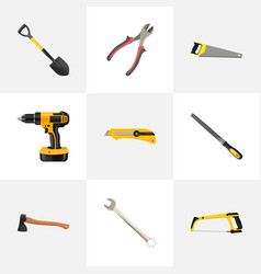 Realistic spanner electric screwdriver vector