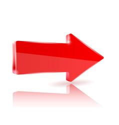 Red shiny arrow vector