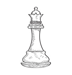 Retro sketch of a queen chess piece vector