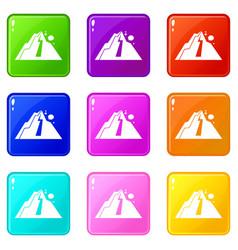 Rockfall icons 9 set vector