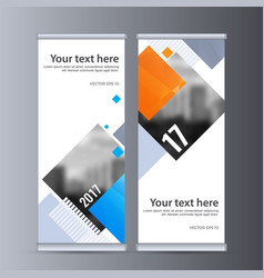 Roll up business banner design vertical template vector