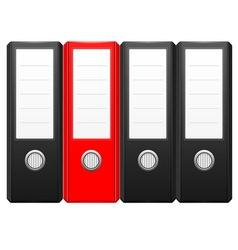 Row black binder folders with one red folder vector
