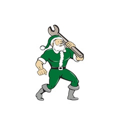 Santa Claus Mechanic Spanner Isolated Cartoon vector image